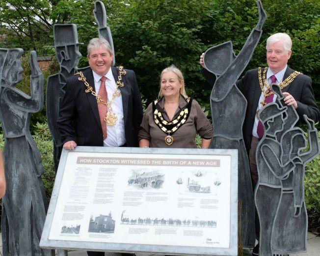 Mayors of Stockton and Darlington with Deputy Mayor of Shildon